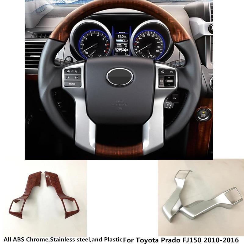 Car styling cover Steering wheel inner Kit switch trim frame panel For Toyota Prado FJ150 2010