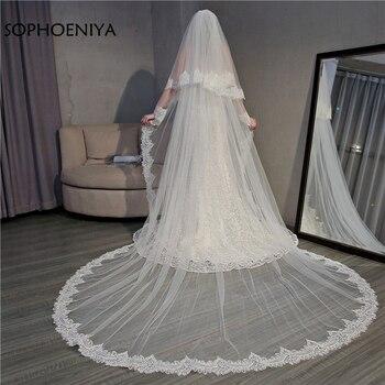 a740ba0eb8 Nueva llegada de dos capas velos de boda largo 2019 blanco marfil .