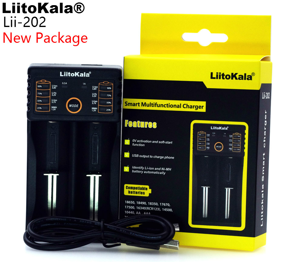 2018 Liitokala Lii-100 Lii-202 1.2 V/3 V/3.7 V/4.25 V 18650/26650/18350/16340/18500/AA/AAA NiMH batteria al litio caricabatterie lii202