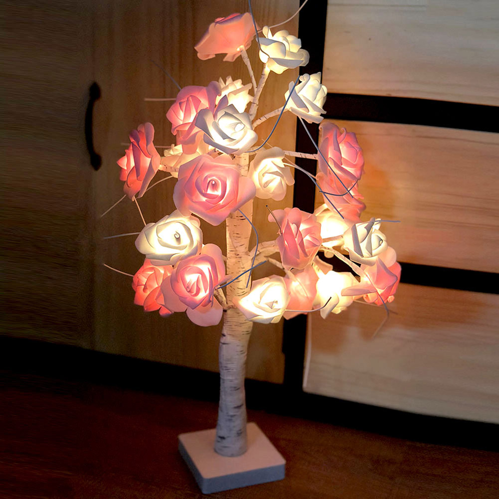 Rose Potted Desk Lamp Night Lights Bonsai Tree Christmas Decor Lights with 24 LED Beads SDF-SHIPRose Potted Desk Lamp Night Lights Bonsai Tree Christmas Decor Lights with 24 LED Beads SDF-SHIP