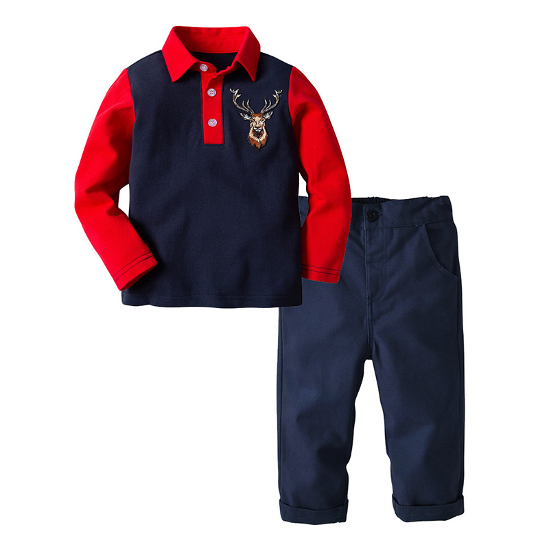 Toddler Boys Clothing Set Casual Children Animal Long Sleeve Polo Shirt Pants Two Piece Kids Fall Outfits Boy Clothes 7 8 Years