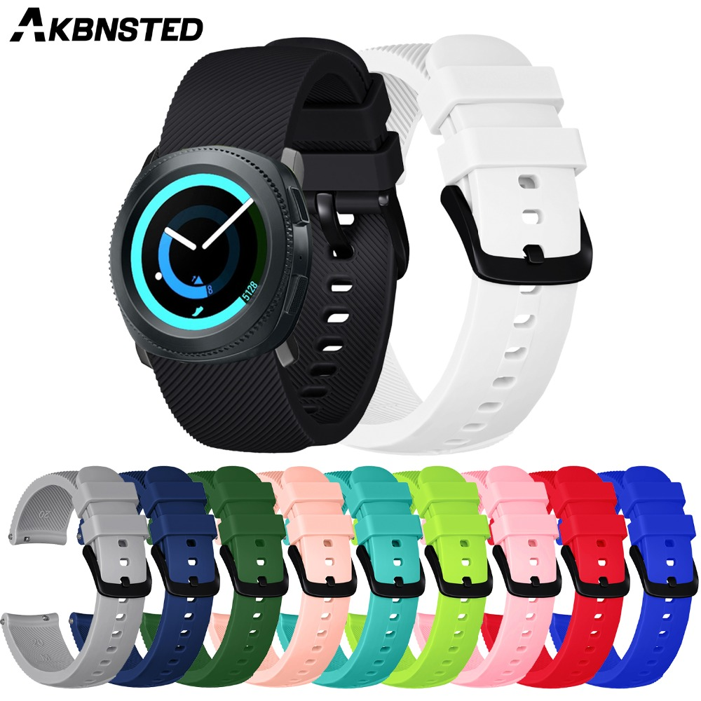 AKBNSTED 20mm Soft Silicone Sport Strap For Samsung Gear Sport Metal Buckle Band SmartWatch Band For Huami Amazfit Bip Youth