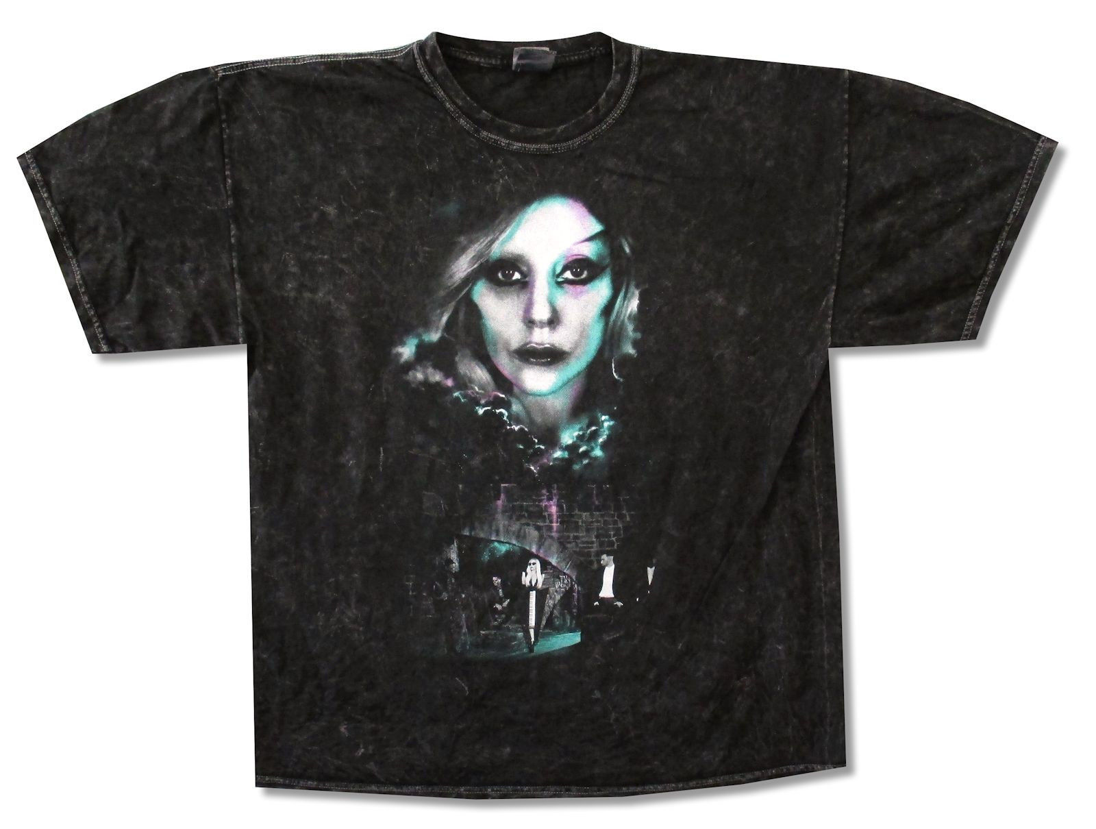 LADY GAGA CASTLE DYE BLACK STONEWASH T-SHIRT NEW OFFICIAL BORN THIS WAY TOUR