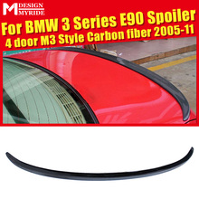 For BMW E90 3-Series Sedan Duckbill Trunk Spoiler Wing M3 Style Carbon Fiber 318i 320i 323i 325i 328i 335 Add On Rear Wing 05-11 стоимость