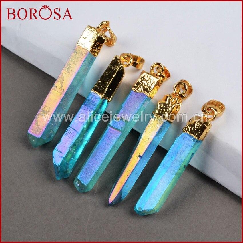 BOROSA 10 PCS Druzy Pendant Warna Emas Titanium Quartz Crystal pilar Titik Biru Dan AB Warna Cluster Aura Quartz Drusy G0360-1