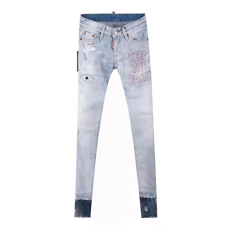 2017 neue Löcher Jeans für Frauen Hosen Hosen Augen Denimhose Zeichnen Hosen Brief Druck Jeans Frau Mode Sommer-in Jeans aus Damenbekleidung bei  Gruppe 1