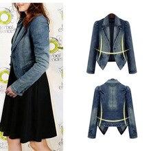 Plus Size 5XL European Style Full Sleeve Casual Women Slim Denim Jacket Chaquetas Mujer Female Coat 8018