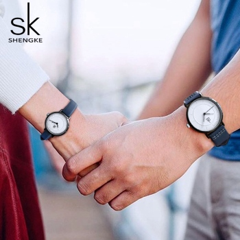 Shengke Watch Quartz Men's Ladies Wrist Watches Analog Blue Fashion Simple Leather Strap Valentine Love Birthday Gift Couple 1