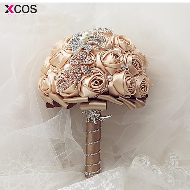 2017 White Champagne Wedding Bouquet Handmade Artificial Flower Rose ...