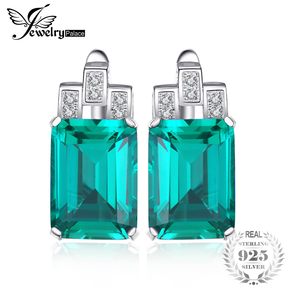 JewelryPalace Luxury 7.6ct Green Created Emerald Solid 925 Sterling Silver Clip Earrings For Women Fine Jewelry 2018 New Fashion