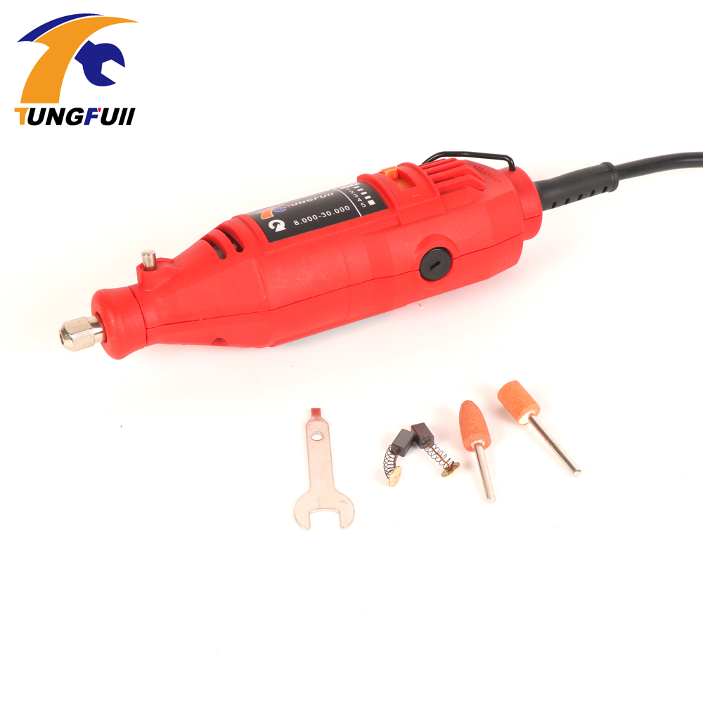 Tungfull EU 220V 130W Variable Speed Rotary Tool Dremel Style Electric Mini Drill w/ Flexible Shaft & 3 Sets to Choose