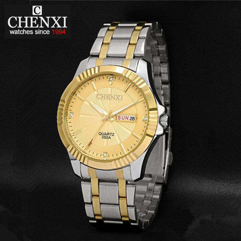 CHENXI Luxury Men Watch With Calendar Life Waterproof Male Quartz Watches Business Stainless Steel Strap With Gold PENGNATATE chenxi brand luxury men watches automatic date stainless steel quartz watch business calendar male wristwatches reloj hombre
