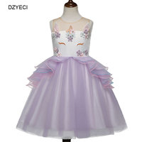 DZYECI Unicorn Costume For Girl Birthday Party Dress Summer Kid Gown Ariel Monsoon Frock Child 6 Year Embroidery Unicornio TUTU