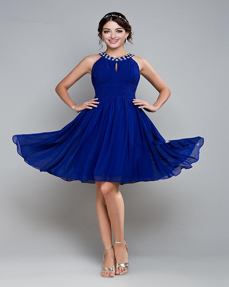 Compare prices on royal blue chiffon dress knee length online short royal blue bridesmaid dresses prom dresses 2016 women a line halter jewel knee length chiffon ombrellifo Choice Image