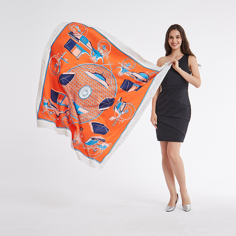 FXAASS Bandana Women Hijab Square Scarf Fashion Ladies Retro Luxury Silk Scarf Shawls Print 130*130cm Large Cape Headscarf-in Women's Scarves from Apparel Accessories