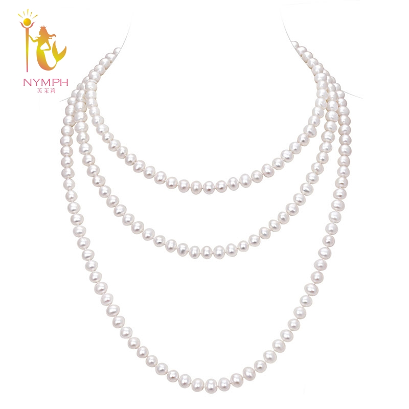 NYMPH long pearl necklace natural real freshwater jewelry 8-9mm near round necklace 150cm for wedding party women [NC1002] недорого