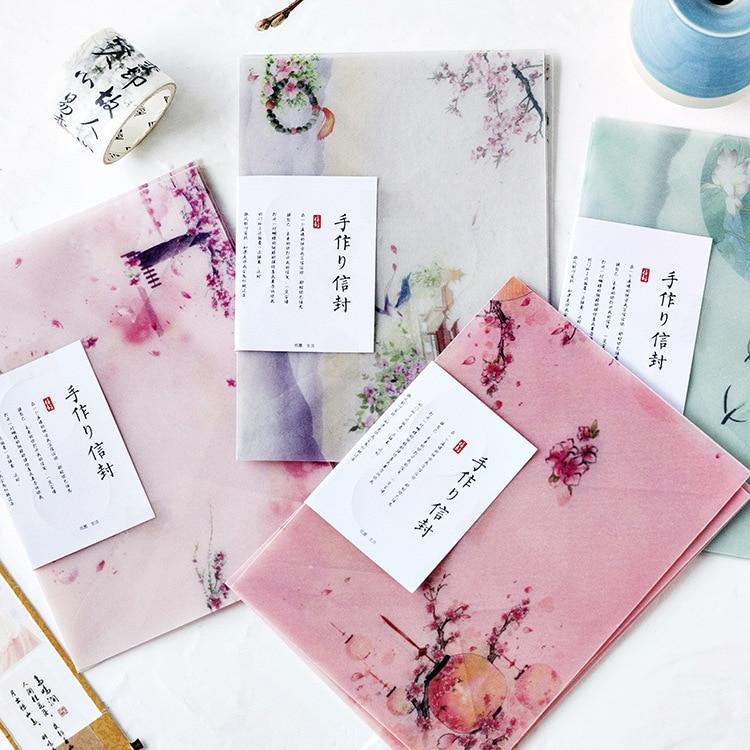 3 Pcs/Lot Sulfuric Acid Paper Envelope Translucent Envelope For Planner Organizer Wedding Letter Invitation