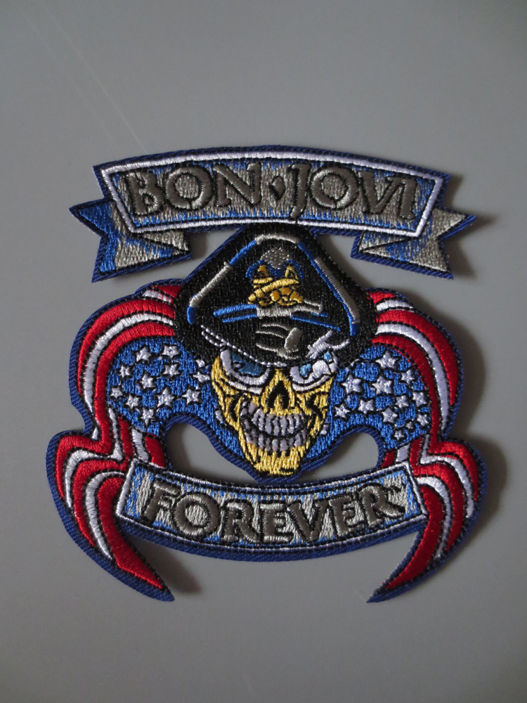 Patches Shop For Cheap Rock Band Bon Jovi Embroidery Patches For Jacket Back Vest Motorcycle Club Biker 9.5cm*10cm Catalogues Will Be Sent Upon Request Apparel Sewing & Fabric