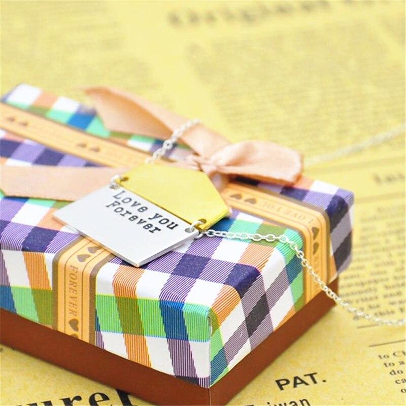 925 solide argent Design enveloppe collier personnalisé gravé amour Message personnalisé Surprise cadeau