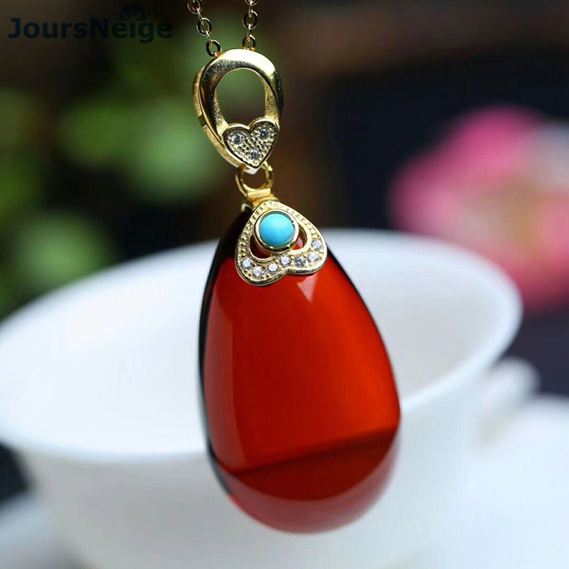 Fine Genuine Red Natural Stone Pendants Water Drop Pendant With 925 Silver Inlay Chain Necklace Lucky for Women Crystal Jewelry vintage faux crystal water drop sweater chain jewelry for women