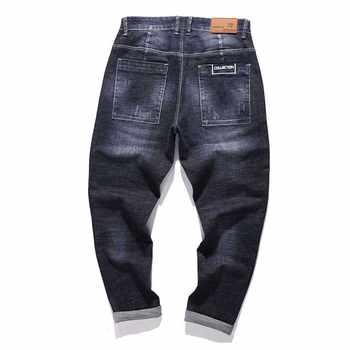 Hip Hop Harem Jeans Mens Jogger Pants Jeans Cotton Stretch Loose Baggy Denim Trousers Designer Men Clothes Plus Size 28-42