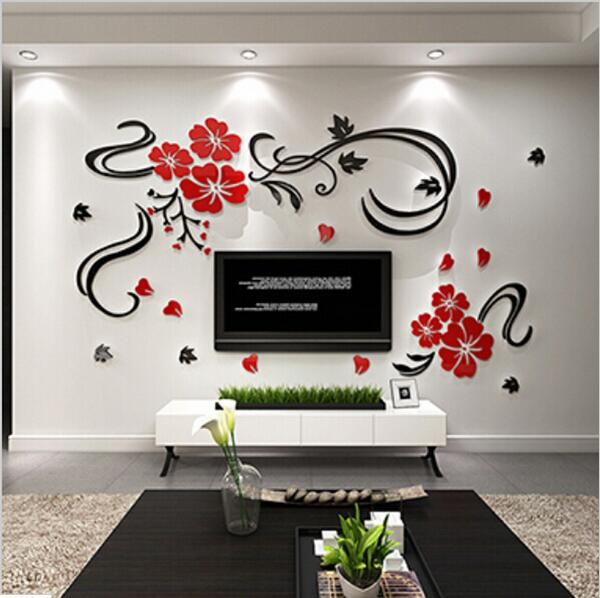 3d stereoscopic wall stickers xs s m acrylic joy flower for Stickers murali 3d