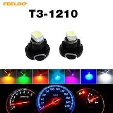 10 LED T3 3528 1210 SMD, jauges de voiture, feux de tableau de bord automobile, lumière d'instrument, lampe de tableau de bord, ampoules pour voiture, DC12V 7 couleurs
