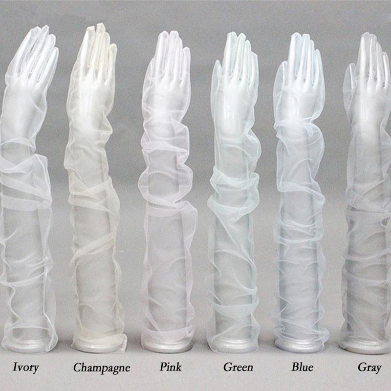 JaneVini Sheer Tulle Gloves Bridal Wedding Gloves Elbow Long Full Finger 70CM DIY Photo Shooting Bride Gloves Prinses Accesoires