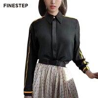 Женские шелковые блузки и топы с отложным воротником, женские блузки с длинным рукавом, официальные блузки, женские офисные рубашки черного