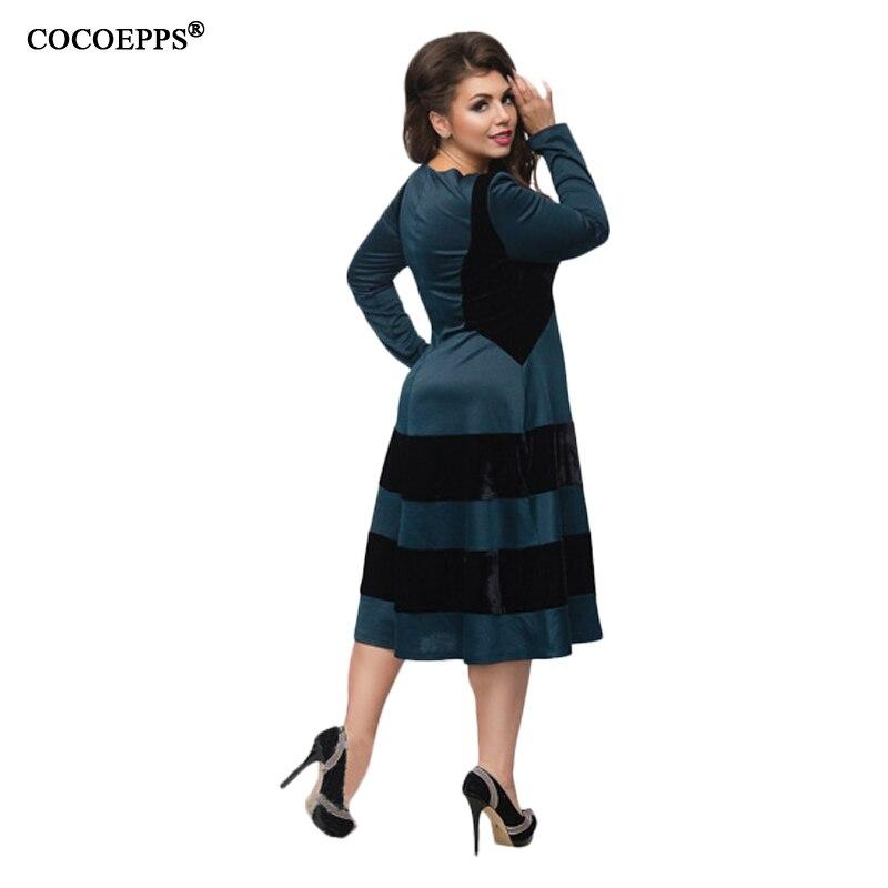 ... 5XL 6XL Big Size Autumn Winter Dresses Fashion Striped Patchwork Dress  2018 Plus Size Women Clothes ... 0ea25a559117