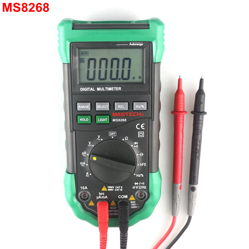 MasTech MS8268 Digital Multimeter Auto Range AC / DC Voltmeter Ammeter Herz Cap Ohm Muti Tester with LCD Backlight