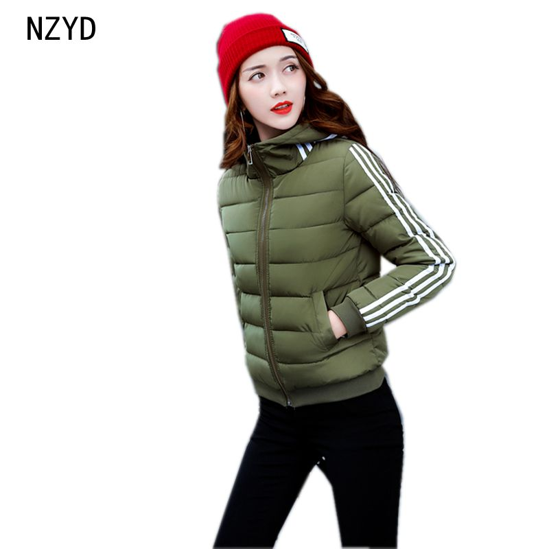2017 Winter Women Jacket Down New Fashion Long sleeve Hooded Thick Warm Short Coat Slim Big yards Female Autumn Parkas LADIES242 winter jackets new women slim warm wadded jacket long sleeve down parkas hooded cotton padded big yards m 3xl long coat female