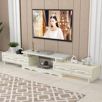 DSG188 Modern Environmentally Friendly Solid Wood TV Cabinet Living Room Scalable TV Stand Bedroom Toughened Glass TV Bench