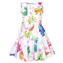 купить 2019 New Girls Dress Sleeveless Round Neck Kids Clothing Color Dinosaur Print Princess Dress дешево