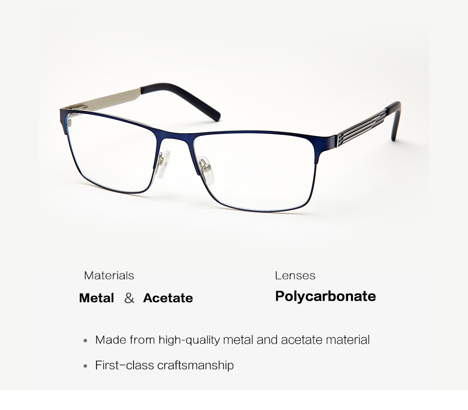 307224d3bcb Metal Men Glasses Clear Frame Clear Fashion Transparent Design Blue  Rectangle Eye Glasses Frames For Men High Quality TWM6154C2