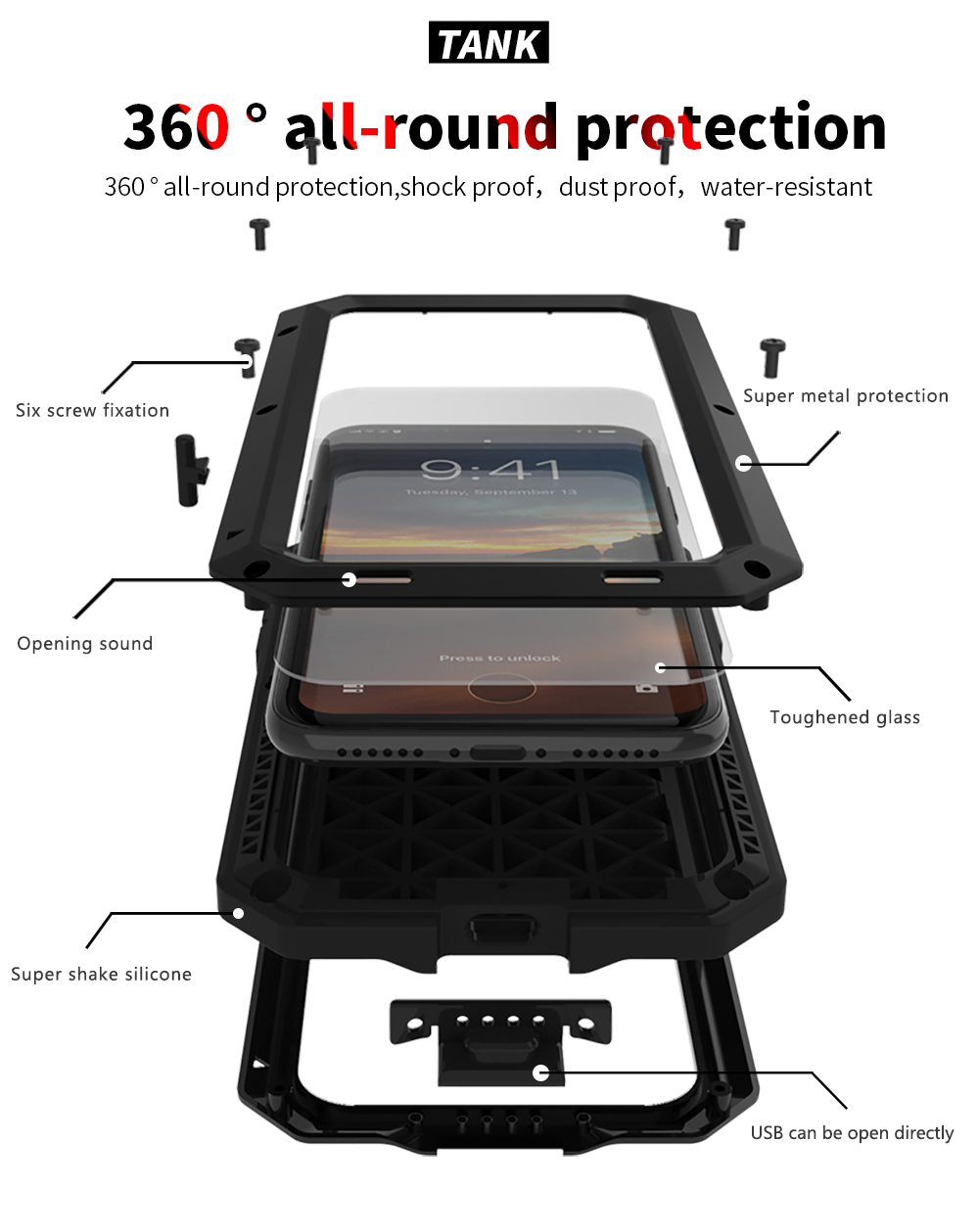 For iPhone X Tactical Waterproof Case (5)