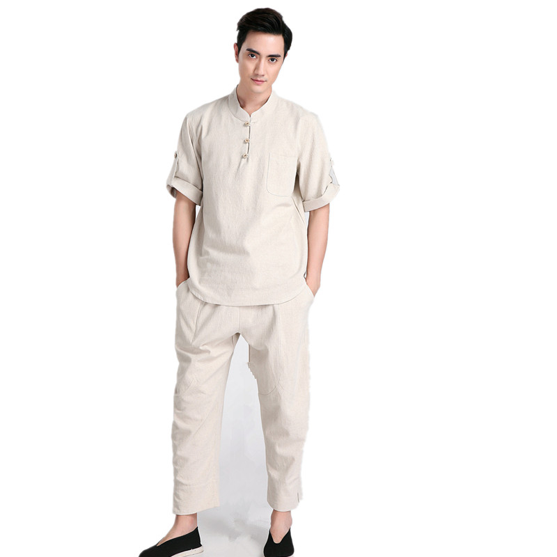 New Arrival Beige Chinese Men Kung fu Uniform Cotton Tai Chi Suit Vintage Button Clothing M