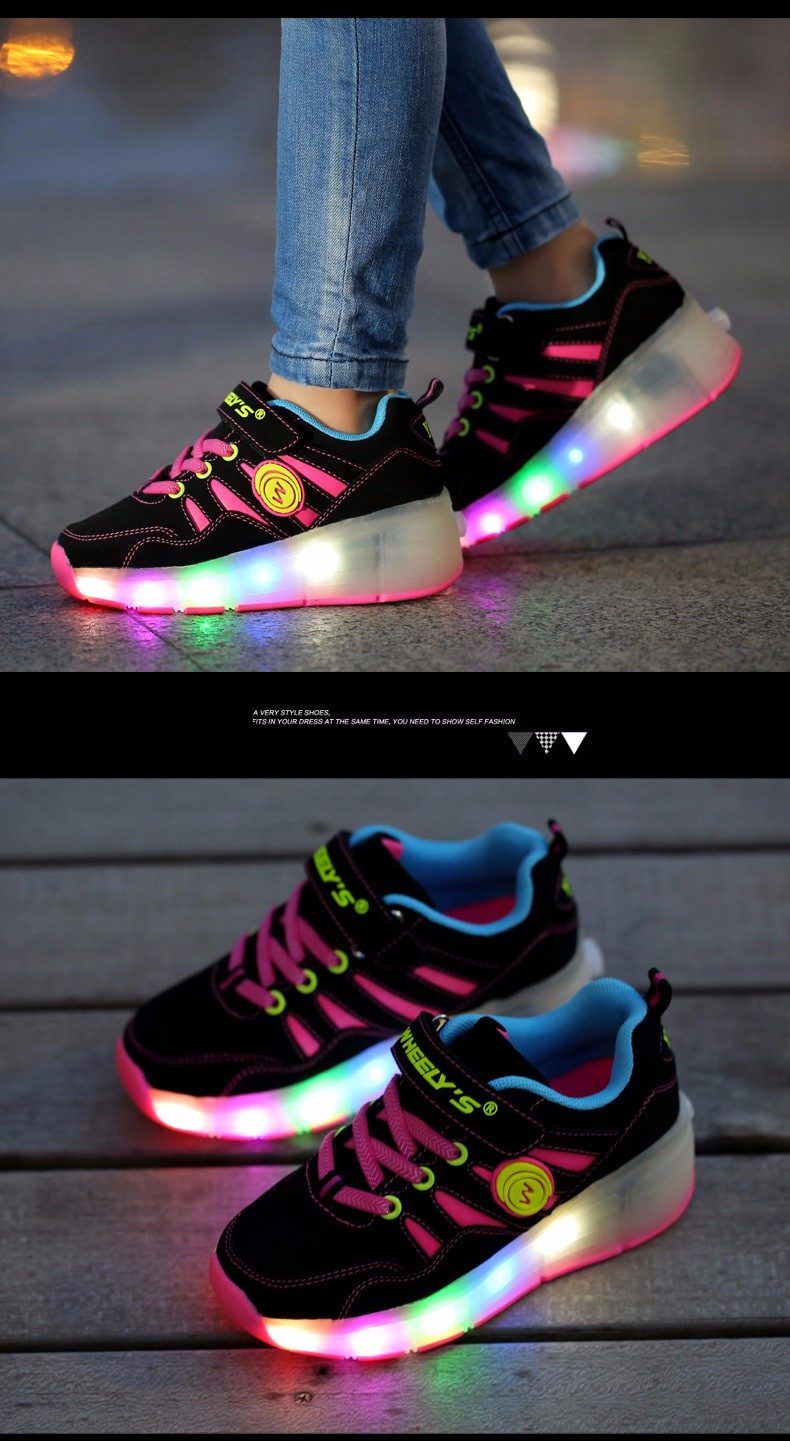 High Quality Cheap Boys LED Sneakers With Wheels Kids Light Up Shoes Girls Roller Skates tenis de rodinha7