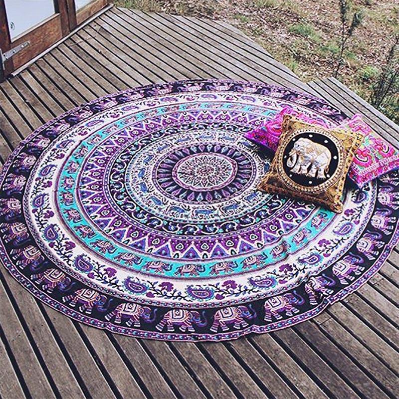 Throw Towel Yoga Mat Decorative Round Beach Towel Indian Mandala Round Elephant Tapestry Wall Hanging Summer Beach New