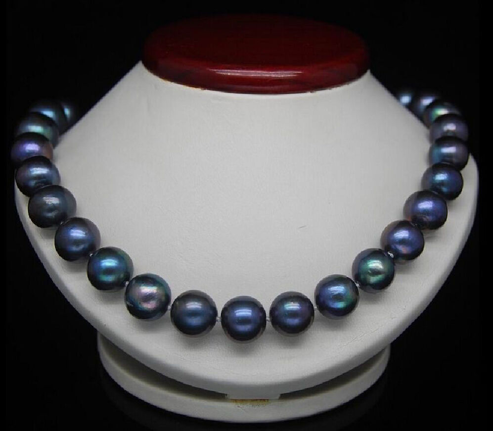 CHARMING 18 10-11MM TAHITIAN BLACK BLUE NATURAL PEARL NECKLACECHARMING 18 10-11MM TAHITIAN BLACK BLUE NATURAL PEARL NECKLACE