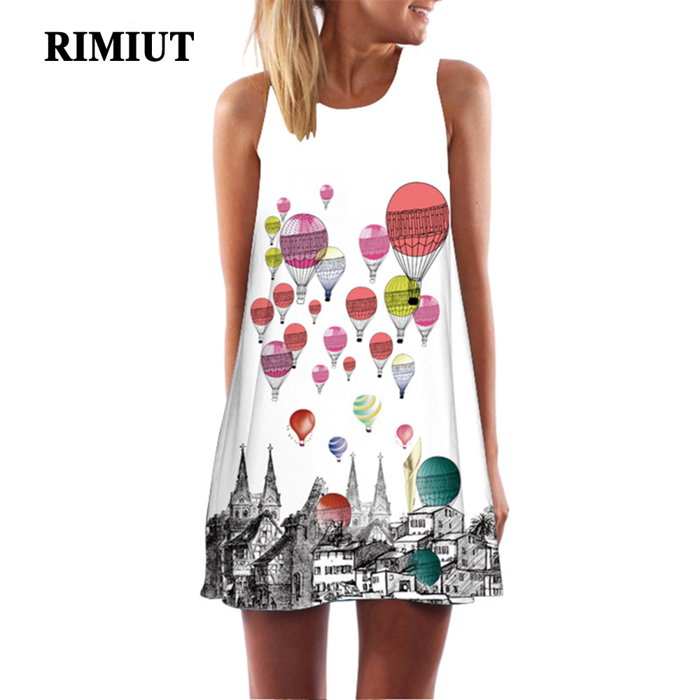 Rimiut 28 Stil Sexy Frauen Cartoon Print A-Line Kleid Rundhals ...