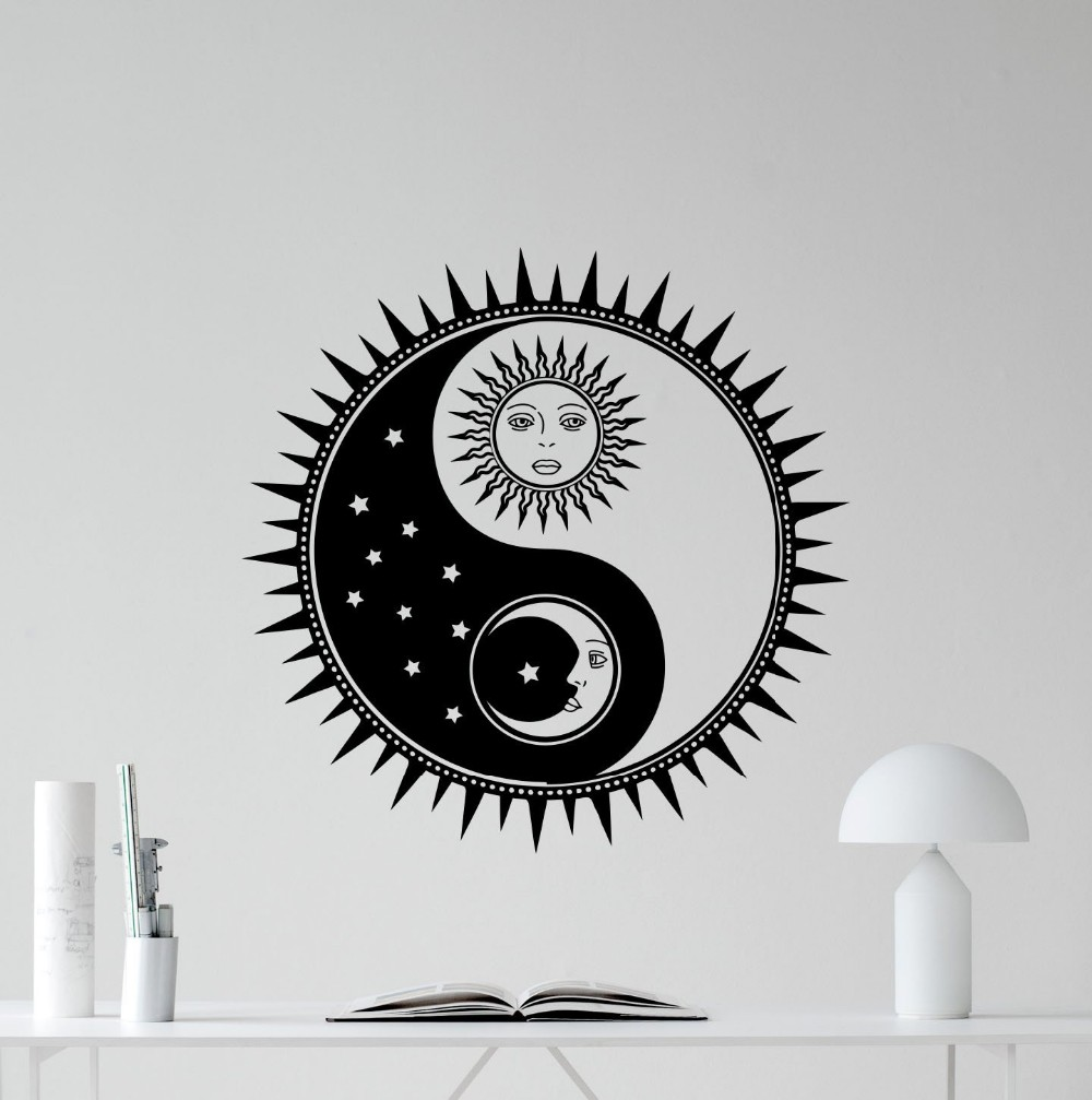 sun wall decals promotionshop for promotional sun wall decals on  - sun and moon yin yang wall decal sun stars vinyl sticker sunshine walldecor wall art kids teen girl boy room wall sticker