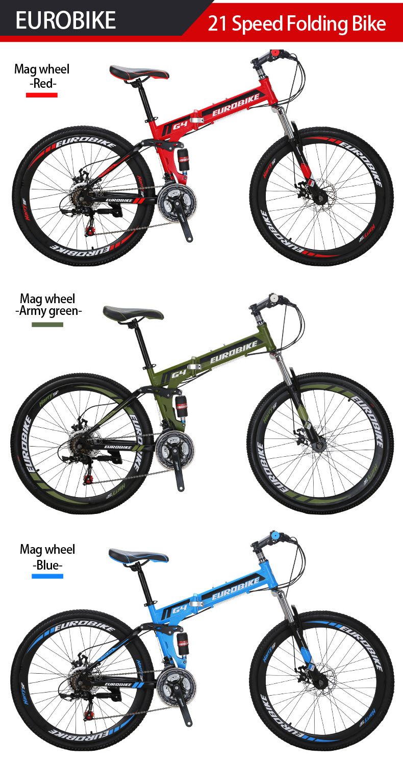 ce51401f433 EUROBIKE 26 INCH 21 SPEED Bicycle SUSPENSION FOLDING BIKE WITH SUSPENSION  FORK Folding B