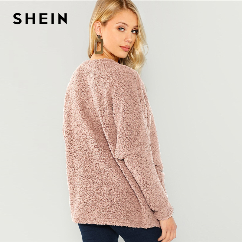 SHEIN Pink Patch Pocket Open-Front Teddy Coat Women's Shein Collection