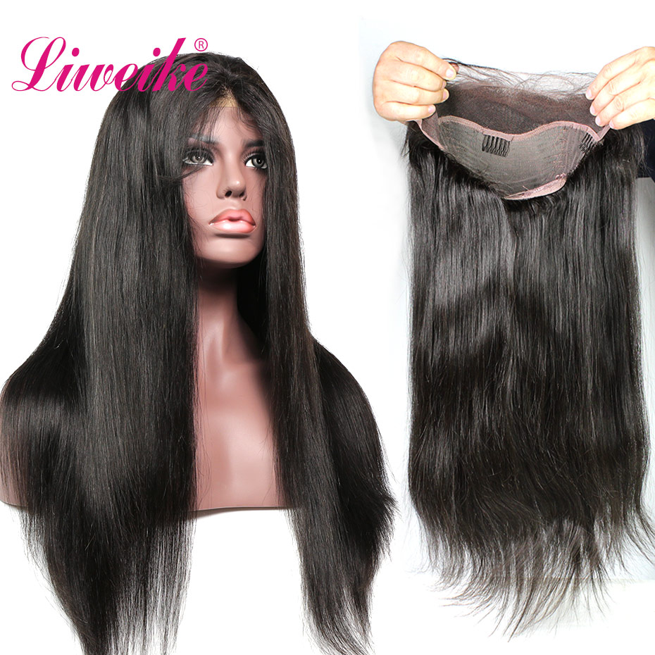 Liweike Straight <font><b>Lace</b></font> Front Remy Human Hair <font><b>Wigs</b></font> Silky Brazilian With Baby Hair Full Ends <font><b>300</b></font>% <font><b>Density</b></font> Natural 1B <font><b>Lace</b></font> Frontal image