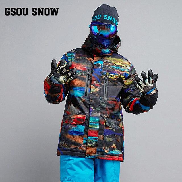 a2e12958e8 2018 Gsou Snow Men Ski Jacket Windproof Waterproof Outdoor Sport Wear  Skiing Snowboard Clothing Winter Coat
