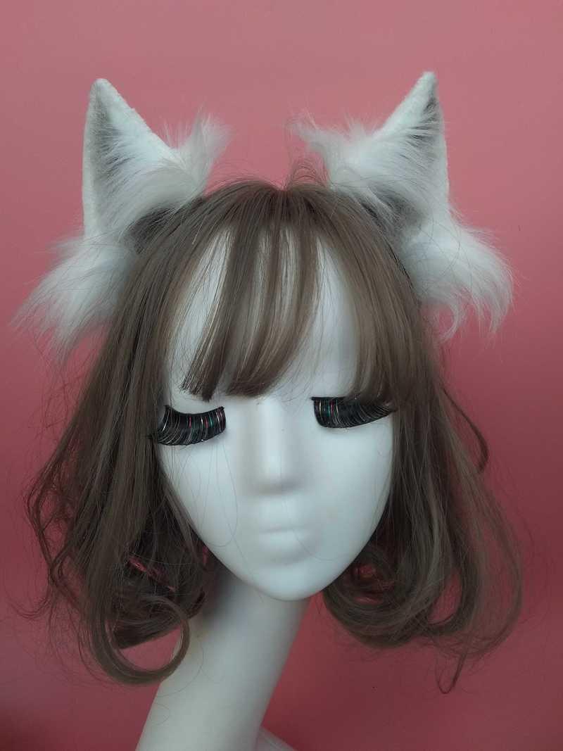 Handmade Anime Neko 3 Colors Realistic Fur Wolf Ears Headband Cosplay Anime Costume Halloween Birthday Party Hair Accessories