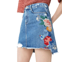 Fetoo Denim Skirts Women High Waist Slim Casual Fashion Mini Faldas Vintage Retro Jeans Skits Embroidered