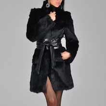 Womens Winter Long Sleeve Faux Rabbit Fur Leather Thick Jacket Coat Outerwear Trench Overcoat Parka Q1764