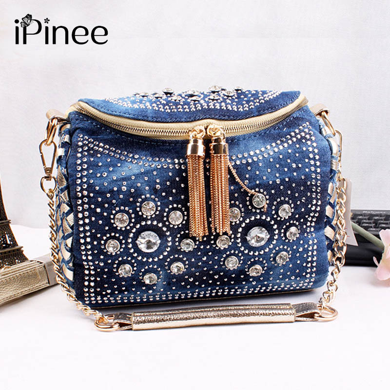 ipinee fashion blue denim jean bags bling fashion small bag with tassel shoulder bag with. Black Bedroom Furniture Sets. Home Design Ideas